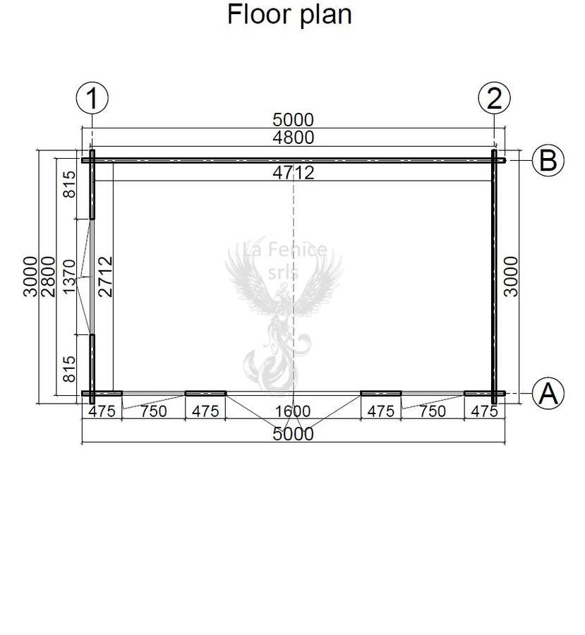 Casetta in legno 5,00 m x 3,00 m - Mod. Helen - 44mm
