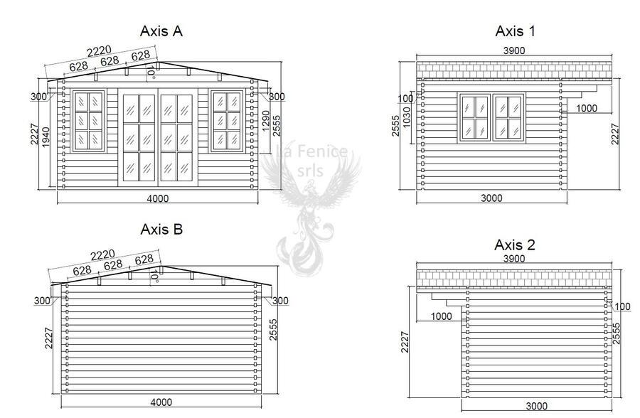 Casetta in legno 4,00 m x 3,00 m - Mod. Helen - 44mm