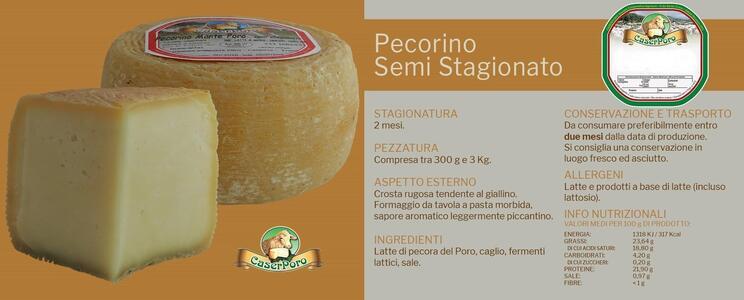 Pecorino, Formaggio Semistagionato, Caserporo, 1,3 kg