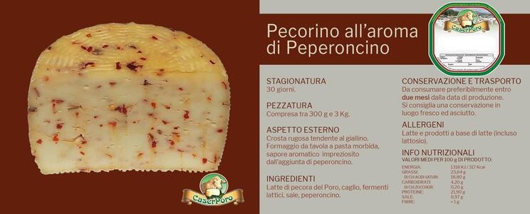 Pecorino al Peperoncino, Formaggio aromatizzato semistagionato, Caserporo,  1,1 kg