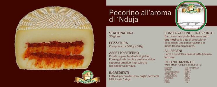 Pecorino alla n'duja, Formaggio aromatizzato Semistagionato, Caserporo, 1,1 kg