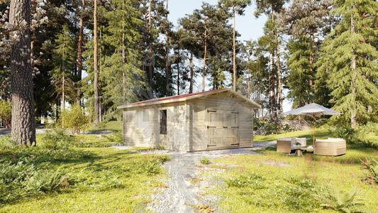 Garage in legno 4,50 m x 5,80 m – Singolo - 44mm