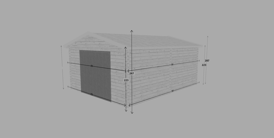 Garage in legno 4,50 m x 5,80 m – Singolo - 44mm
