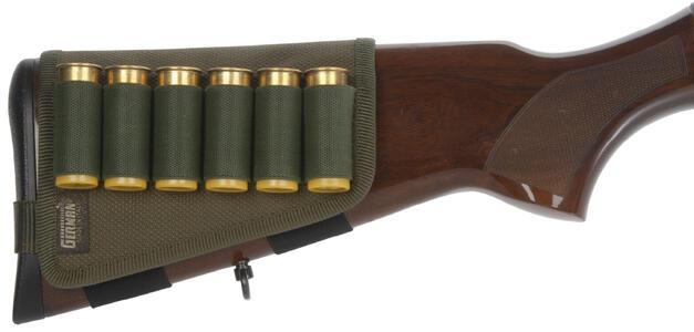 Porta cartucce per calcio fucile verde, 6 celle elastiche