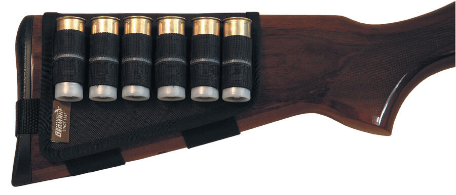 Porta cartucce per calcio fucile nero, 6 celle elastiche