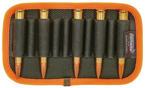 Porta pallottole da cintura verde con bordatura arancio fluo, 10 celle elastiche