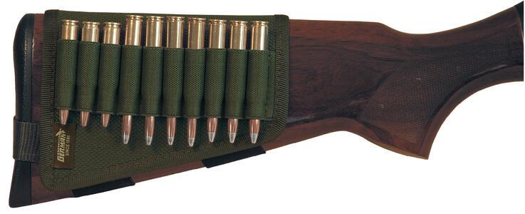 Porta pallottole per calcio fucile verde, 10 celle elastiche