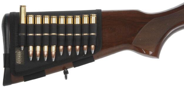 Porta pallottole per calcio fucile nero, 10 celle elastiche