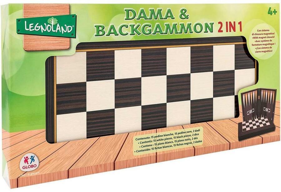 DAMA & BACKGAMMON 2 IN 1 LEGNOLAND GLOBO