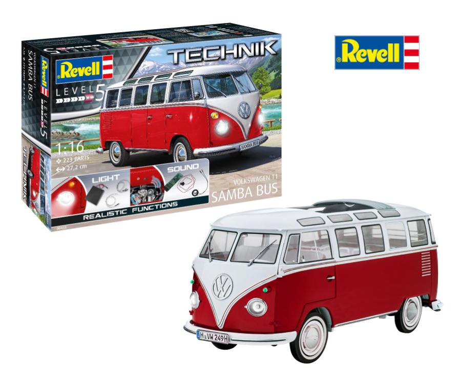 Automodello Volkswagen T1 Samba Bus - Serie Technik di Revell