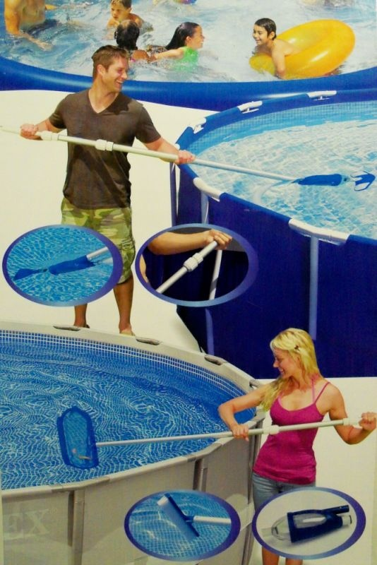 Kit set accessori retino pulizia manutenzione piscina for Pulizia piscina