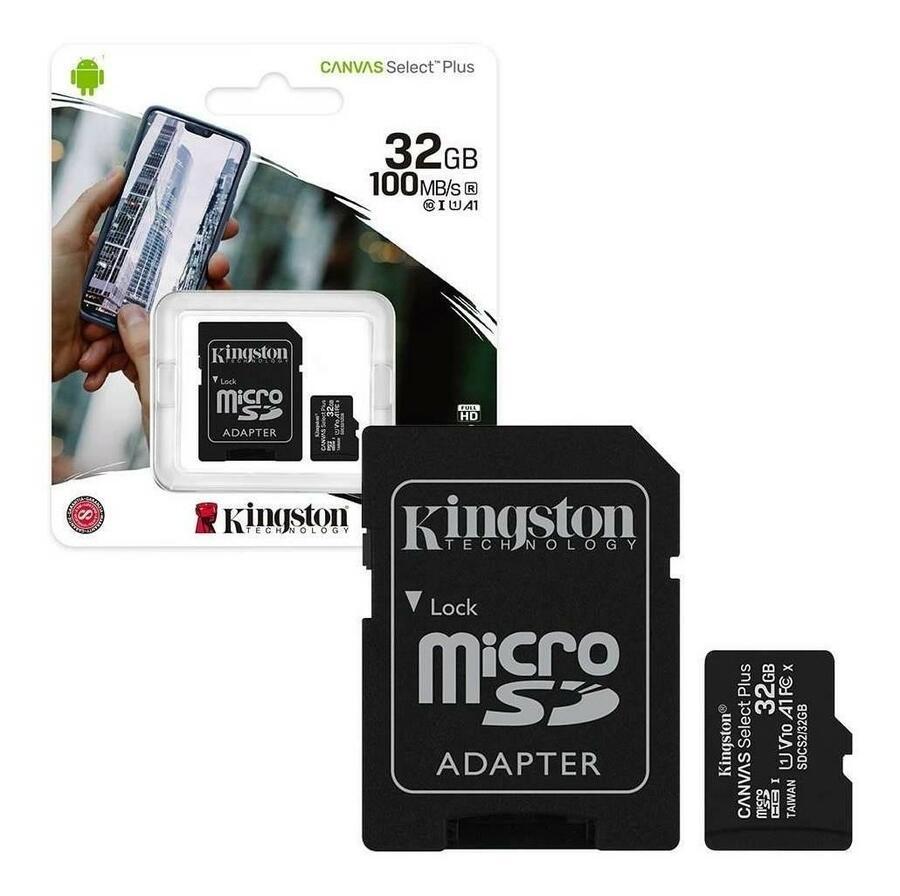 FLASHCARD MICROSD 32 GB CANVAS SELECT PLUS 100MB/S KINGSTON