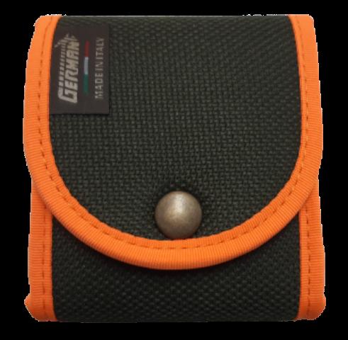Giberna porta pallottole da cintura, 7 celle elastiche, con bordatura arancio fluo
