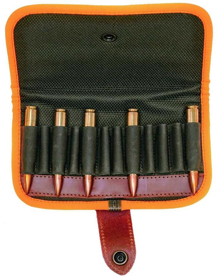 Giberna porta pallottole da cintura, 12 celle elastiche, con bordatura arancio fluo