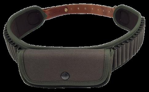 Cartuccera elastica 28 celle cal.36 in tessuto 1200 D con tasca, foderata panno, cinturone in cuoio