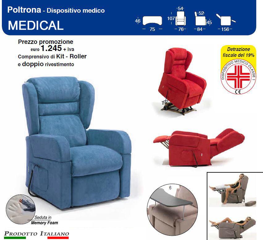 Poltrona Relax Medical Braccioli Estraibili Alzata Verticale cm 10 completa di Alzapersona e Kit Roller Pronta Consegna in Tessuto Idrorepellente Azzurro Avio
