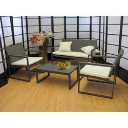 Salotto 4 pezzi da giardino per esterno textilene alluminio marzia temptation grigio
