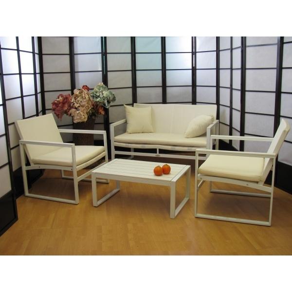 Salotto Da Giardino Bianco.Salotto 4 Pezzi Da Giardino Per Esterno Textilene Alluminio Marzia