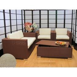 Salotto 4 pezzi da giardino per esterno textilene alluminio Passionale marrone