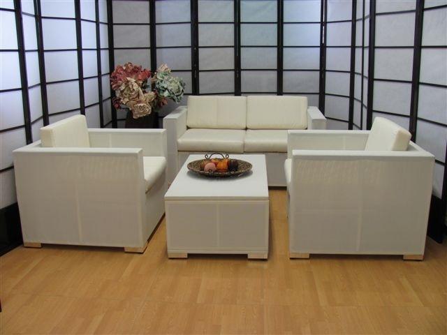 Salotto 4 pezzi da giardino per esterno textilene alluminio passionale bianco - Salottini per esterno ...