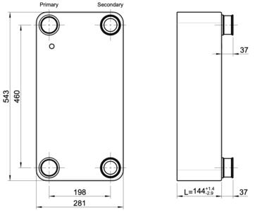 """Scambiatore di calore GBS 757M-50 (XLA1,XG2) 2 x 1 ⅛""""-54,2mm ODS + 2 x 2"""" Kelvion"""