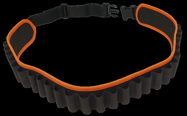 Cartuccera elastica 30 celle verde, con bordatura arancio fluo, disponibile nei calibri 12 e 20