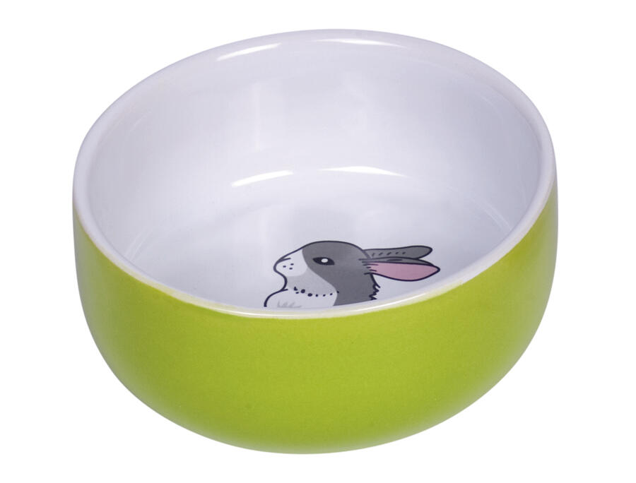 "Nobby Ciotola - Rodent Ceramic bowl ""Rabbit""  - Verde - 300 ml."