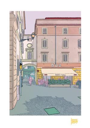 EMILIO LECCE, STAMPA FIRMATA 29,7X42 cm: SAN CALLISTO A COLORI
