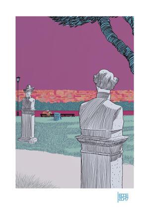 EMILIO LECCE, STAMPA FIRMATA 29,7X42 cm: GIANICOLO A COLORI