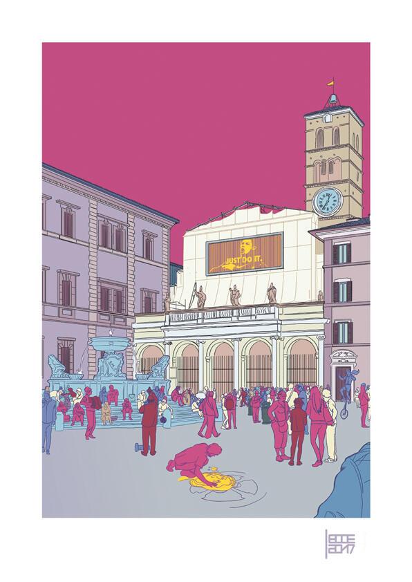 EMILIO LECCE, STAMPA FIRMATA 29,7X42 cm: SANTA MARIA IN TRASTEVERE A COLORI