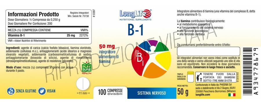 B1 50mg 100 cps - LongLife