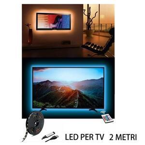 Led per tv USB RGB con telecomando multicolor 2 metri