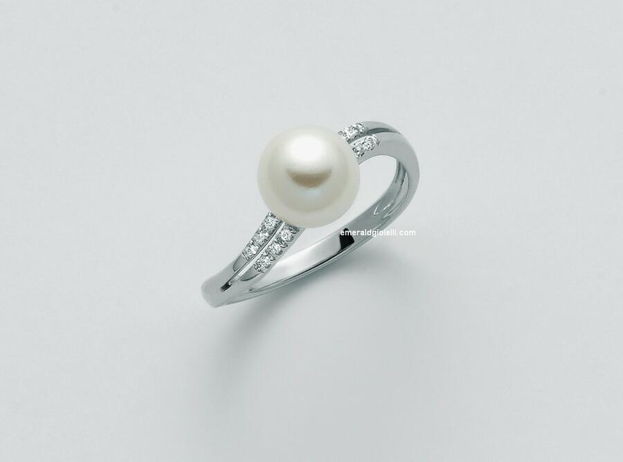 PLI1597 Anello con perla e diamanti Miluna -