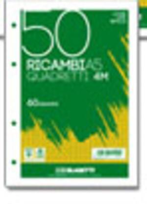 CONFEZIONE 50 FOGLI RICAMBIO A5 CON 4 FORI E QUADRI 5 MM
