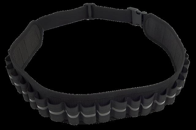 Cartuccera elastica 25 celle nera, disponibile nei calibri 12 e 20
