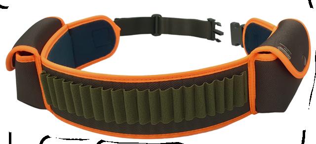 Cartuccera elastica porta pallottole 20 celle, tessuto 1200 D con 2 tasche porta caricatore, bordatura arancio fluo