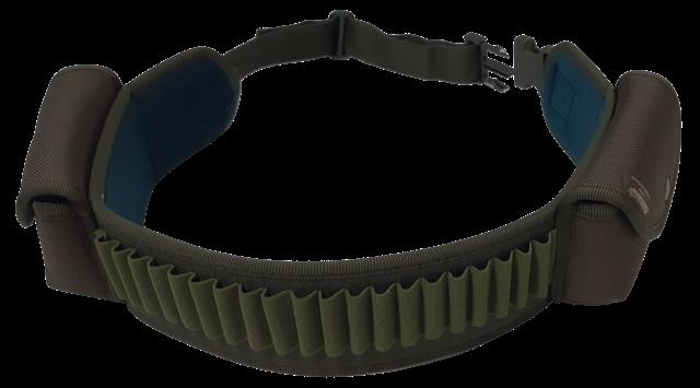 Cartuccera elastica porta pallottole 20 celle, tessuto 1200 D con 2 tasche porta caricatore