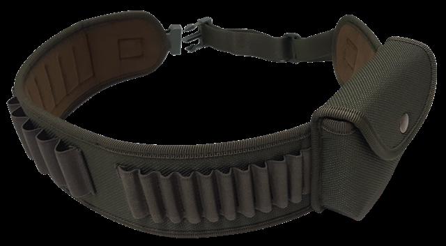 Cartuccera elastica 10 celle cal.12 + 10 celle porta pallottole, tessuto 1200 D con 1 tasca porta caricatore