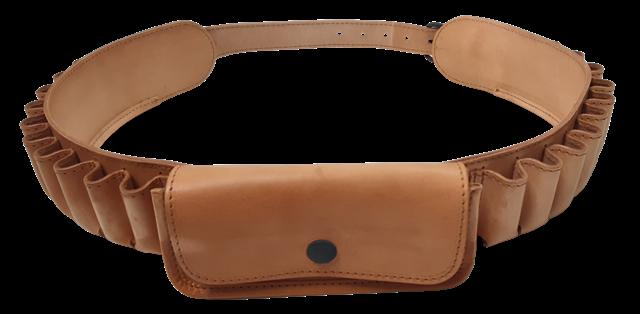 Cartuccera 22 celle cal.12 in cuoio ingrassato colore naturale con 1 tasca