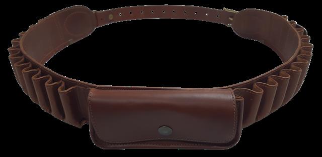 Cartuccera 22 celle cal.12 in cuoio ingrassato colore marrone con 1 tasca