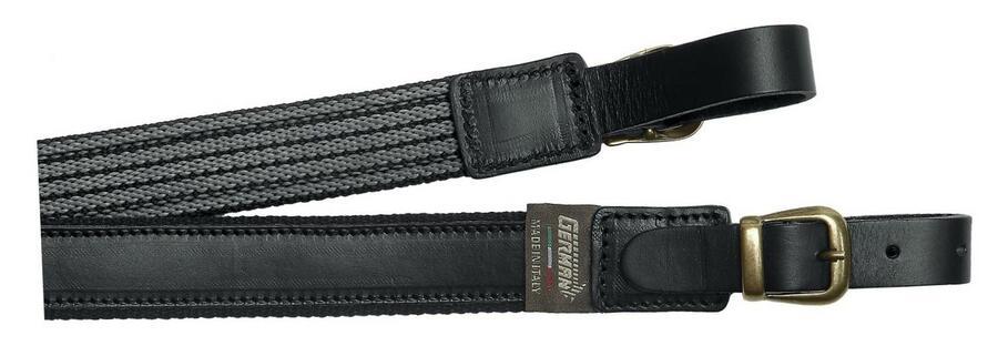 Bretella per fucile in tessuto colore nero e cuoio ingrassato con antiscivolo mm.30