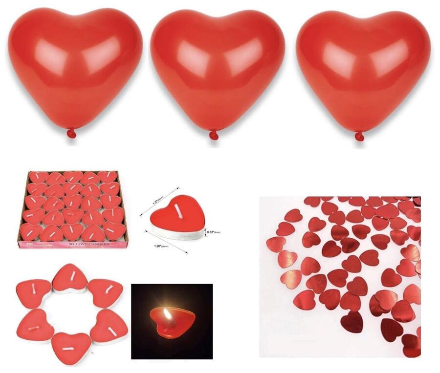 Kit Romantico Anniversario di Candele Palloncini e Petali di cuore, 50 Candeline a Forma di Cuore, 30 Petali di Rosa in Seta, 8 Palloncini Cuore Rosso da 23cm, Decorazioni per San Valentino Matrimonio