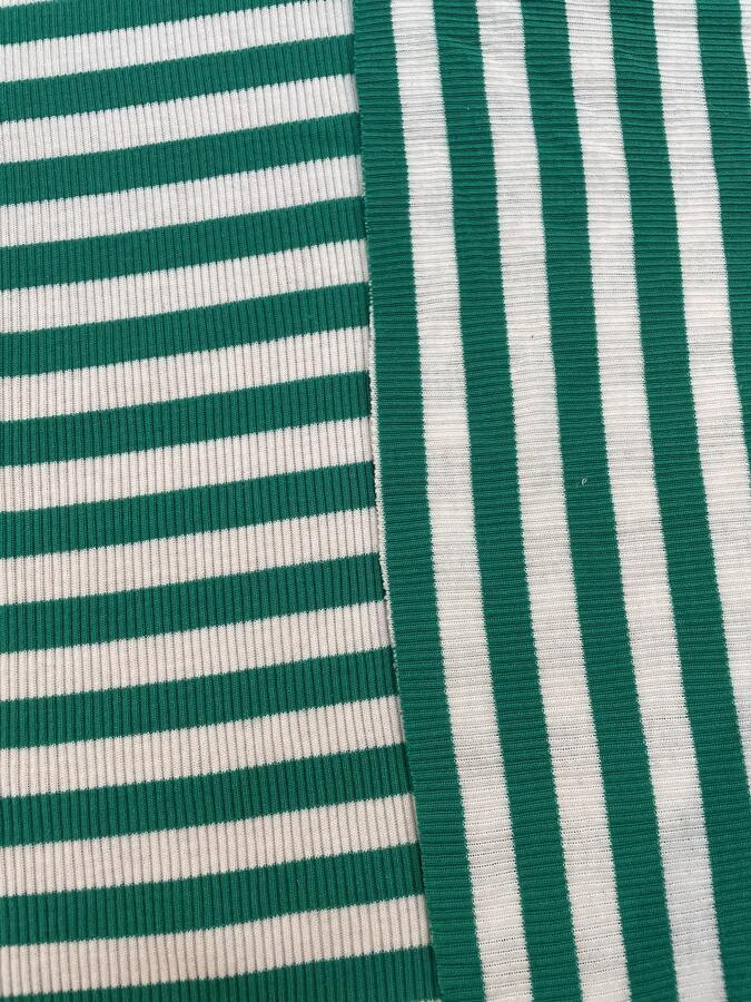 Maglina Jersey a coste righe verde bandiera e bianco