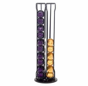 Organizer Porta Cialde Capsule Caffè Dispenser Colore Nero in Metallo 37 cm 40 Posti