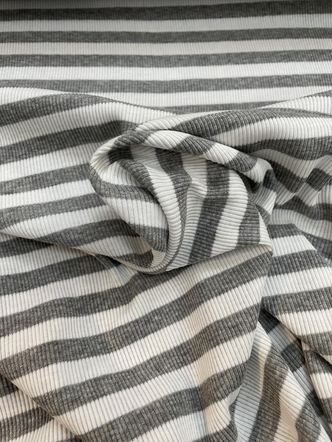 Maglina Jersey a coste righe grigio e bianco