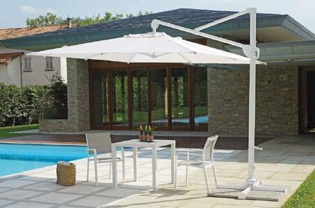 Ombrellone da giardino per bar ristoranti pub girevole con palo laterale in alluminio 3x3 Mt contract Professionale ENRICO 5028 Bianco