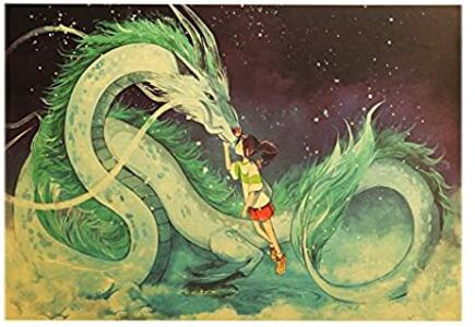 Poster Film Miyazaki: SPIRITED AWAY (LA CITTÀ INCANTATA), Haku in forma di drago e Chihiro