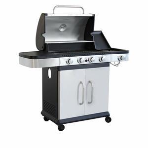Barbecue in acciaio CARONTE 4 a gas 4 fuochi + 1 fornello acciaio inox cm 128,5 x 55,5 x 112 h