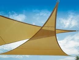 Tenda a vela ombreggiante triangolare 5 x 5 x 5 ecrù sabbia per ombra VE11