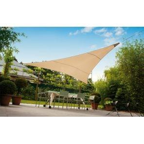 Tenda a vela ombreggiante triangolare 3,6 x 3,6 x 3,6 ecrù sabbia per ombra